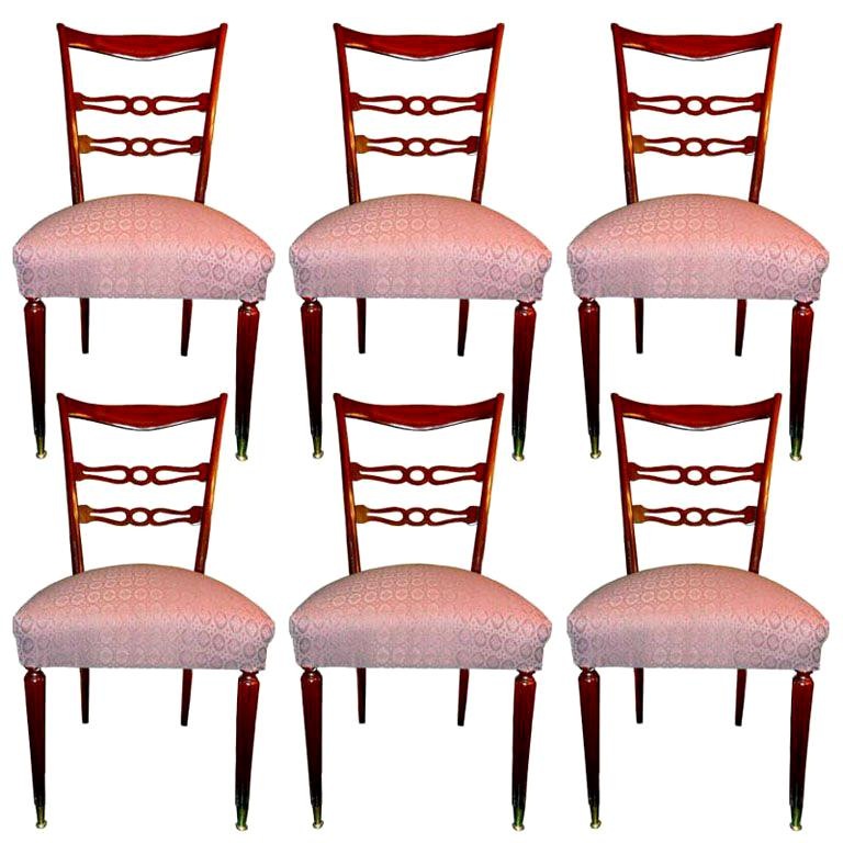 Set of Six 1950's Italian Dining Chairs For Sale