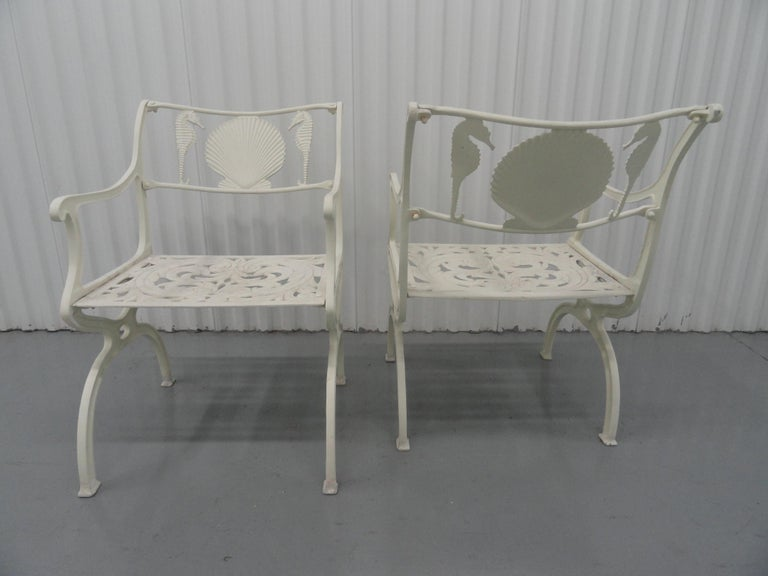 Set of Six 1950s Molla Cast Aluminum Seahorse Garden Armchairs In Good Condition For Sale In West Palm Beach, FL