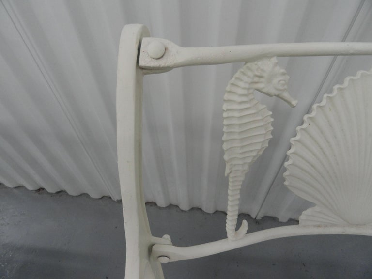 Set of Six 1950s Molla Cast Aluminum Seahorse Garden Armchairs For Sale 4