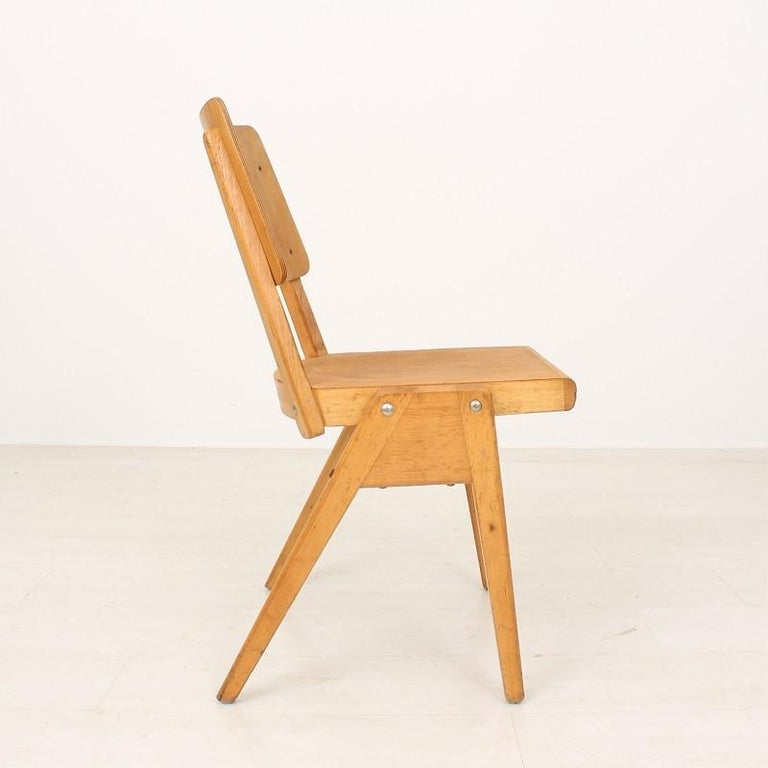 Set of Six 1950s Vintage Stacking Chairs In Good Condition For Sale In Freiburg, DE