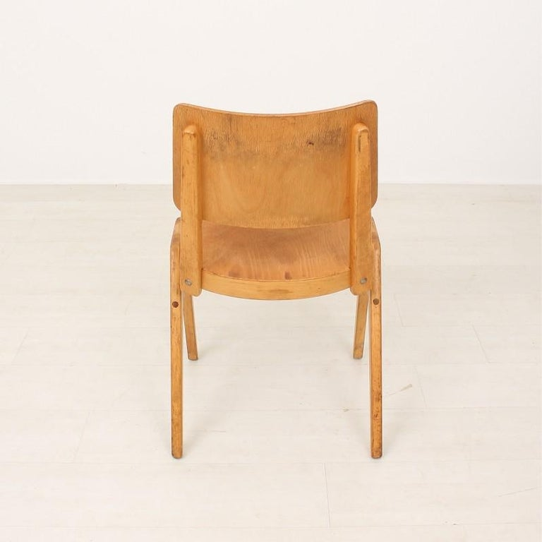 Mid-20th Century Set of Six 1950s Vintage Stacking Chairs For Sale