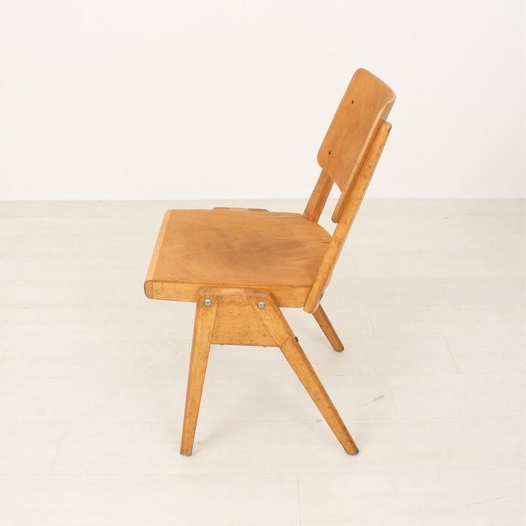 Beech Set of Six 1950s Vintage Stacking Chairs For Sale
