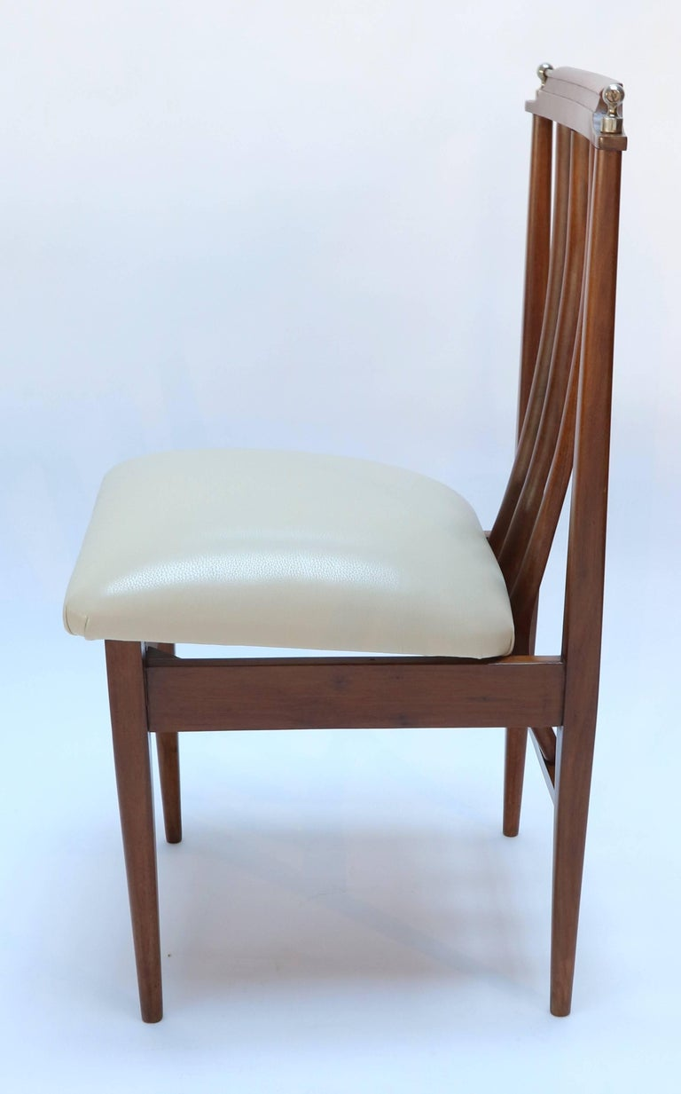 Mid-Century Modern Set of Six 1960s Argentinian Dining Chairs with Chrome Details For Sale