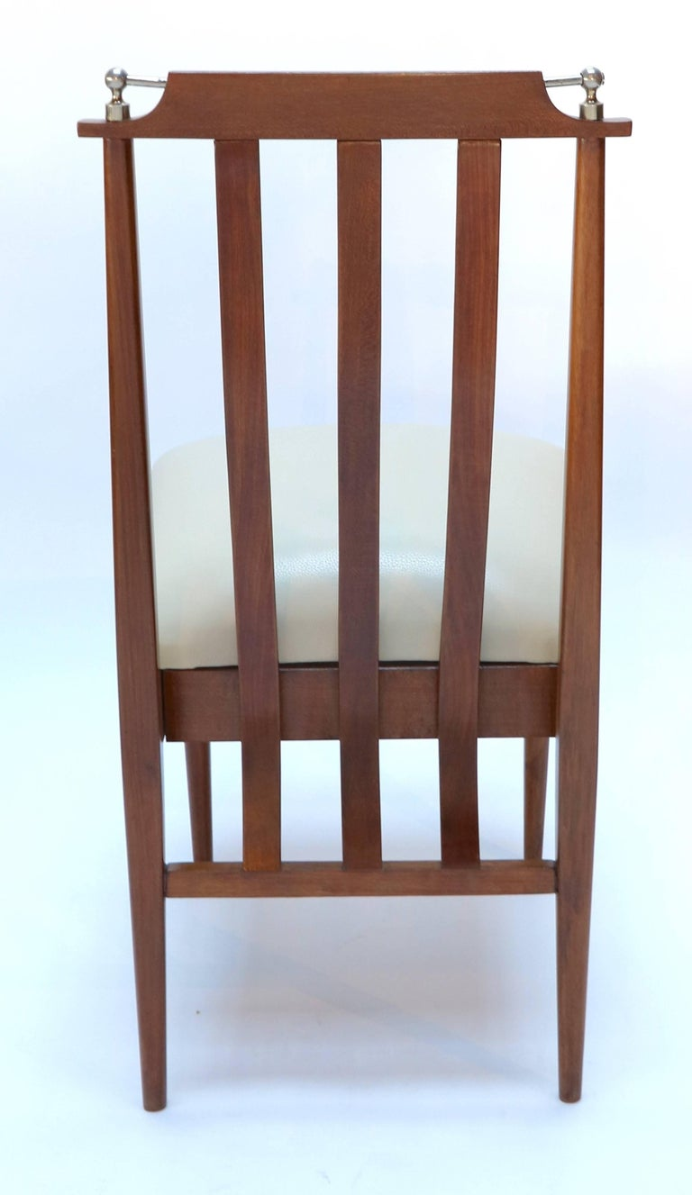 Argentine Set of Six 1960s Argentinian Wooden Dining Chairs with Beige and Chrome Details For Sale