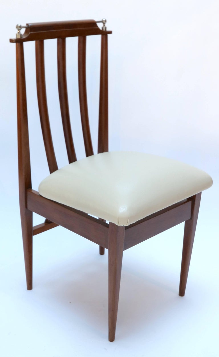 Mid-20th Century Set of Six 1960s Argentinian Wooden Dining Chairs with Beige and Chrome Details For Sale