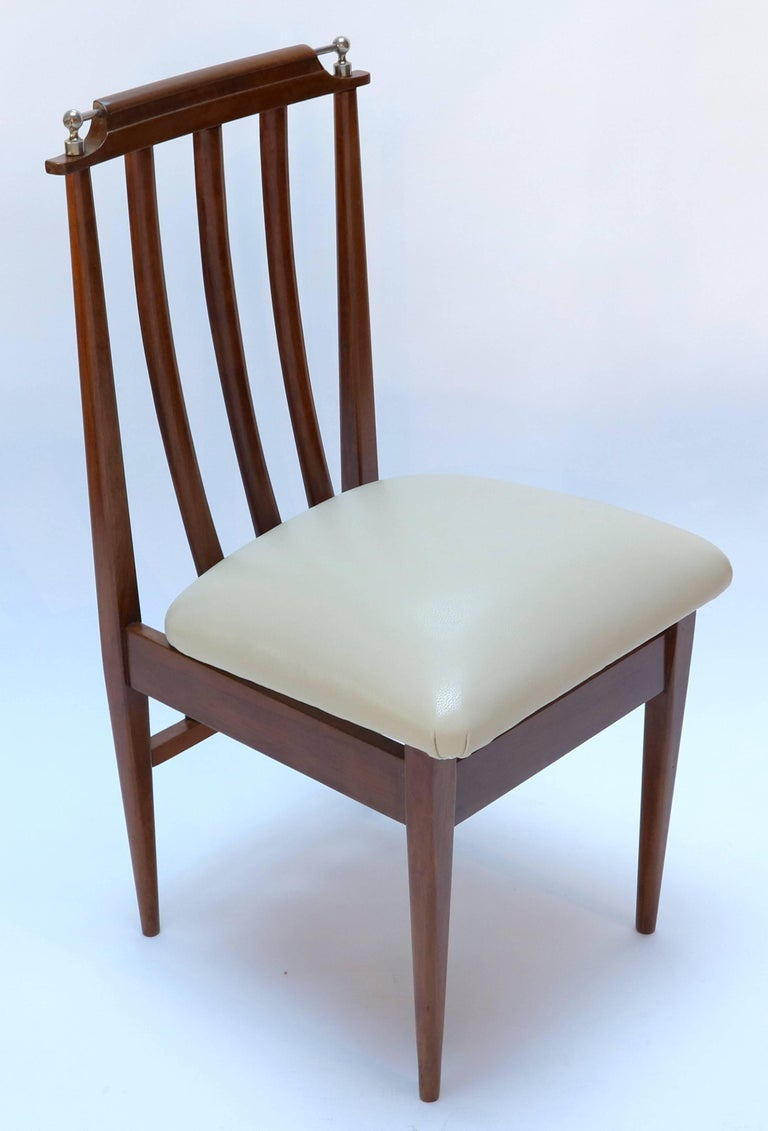 Set of Six 1960s Argentinian Wooden Dining Chairs with Beige and Chrome Details For Sale 1