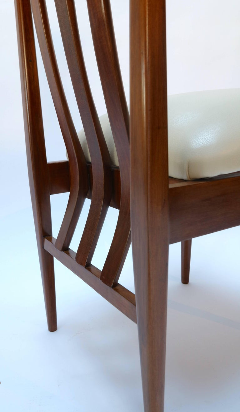 Set of Six 1960s Argentinian Wooden Dining Chairs with Beige and Chrome Details For Sale 3