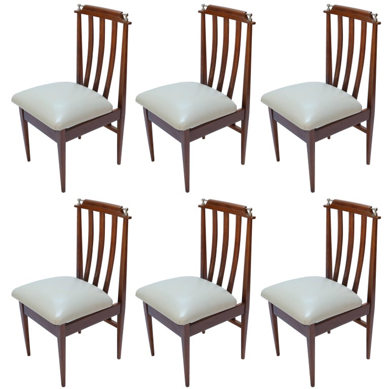 Set of Six 1960s Argentinian Dining Chairs with Chrome Details For Sale
