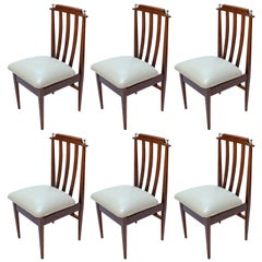 Set of Six 1960s Argentinian Wooden Dining Chairs with Beige and Chrome Details