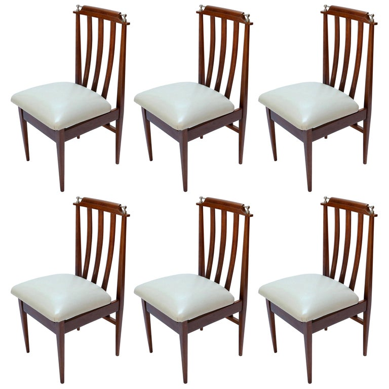 Set of Six 1960s Argentinian Wooden Dining Chairs with Beige and Chrome Details For Sale