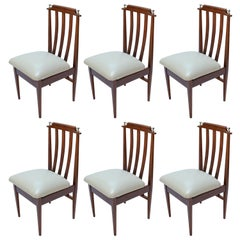Set of Six 1960s Argentinian Wooden Dining Chairs with Chrome Details