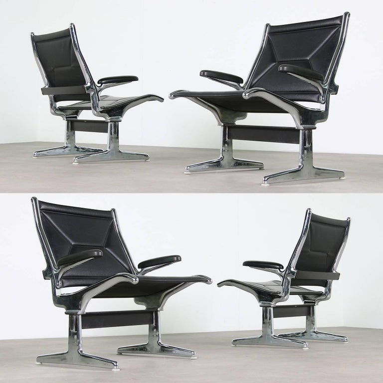 Set Of Six 1960s Charles Eames Airport Chairs For Herman