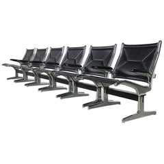 Set of Six 1960s Charles Eames Airport Chairs for Herman Miller Black and Chrome