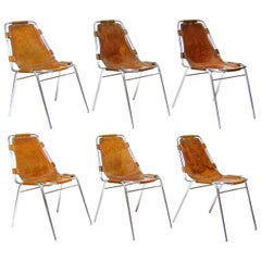 """Set of Six 1960s Charlotte Perriand """"Les Arcs"""" Chairs in Leather and Chrome"""