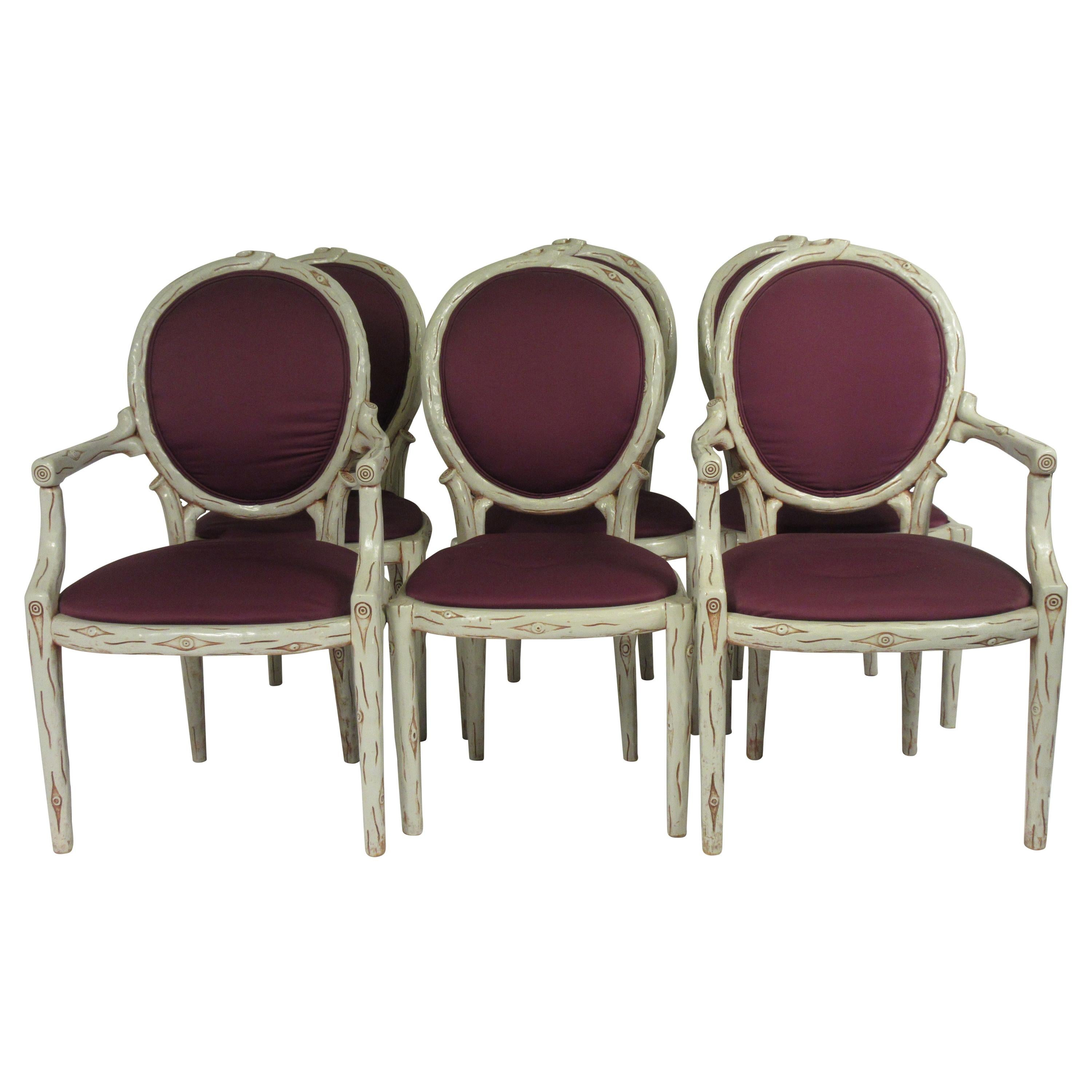Set of Six, 1960s Faux Bois Dining Chairs