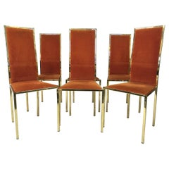 Set of Six 1970s Gold Lacquered Dining Chairs