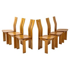 Set of Six 1970's Organic Modernist Italian Oak Dining Chairs