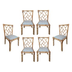 Set of Six 1970s Spanish Hand Woven Wicker and Cane Chairs