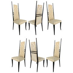 Set of Six 1980s Sculptural Italian Dining Chairs