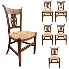 Set of Six 19th-20th Century French Country Side Chairs with Rush Seats