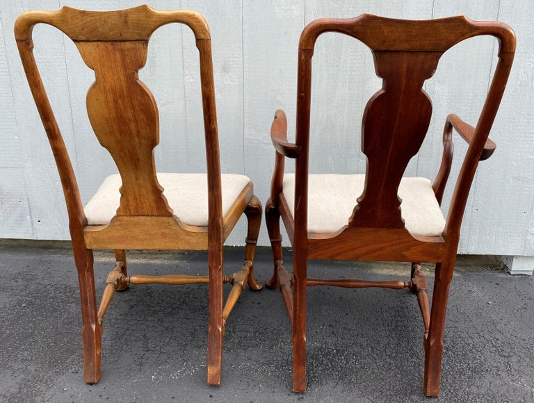 Set of Six 19th-20th Century Queen Anne Style Mahogany Dining Chairs In Good Condition For Sale In Milford, NH