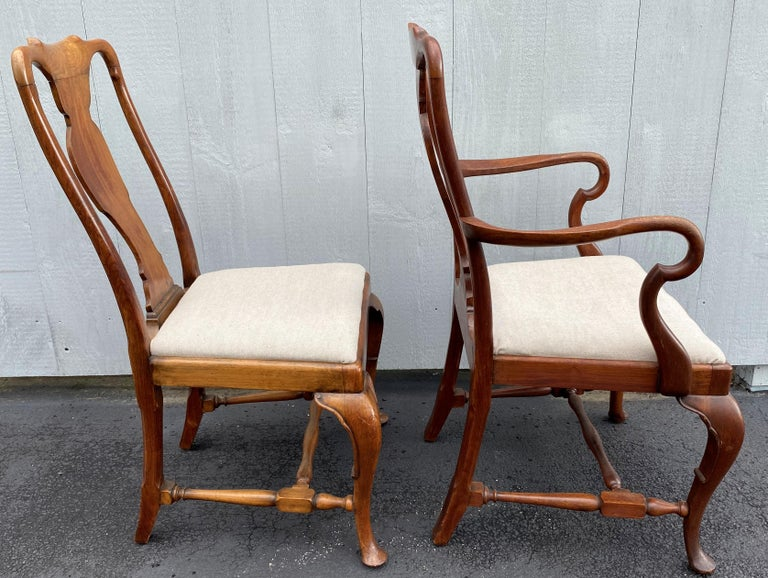 19th Century Set of Six 19th-20th Century Queen Anne Style Mahogany Dining Chairs For Sale