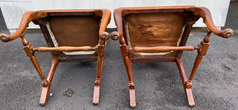 Set of Six 19th-20th Century Queen Anne Style Mahogany Dining Chairs For Sale 2