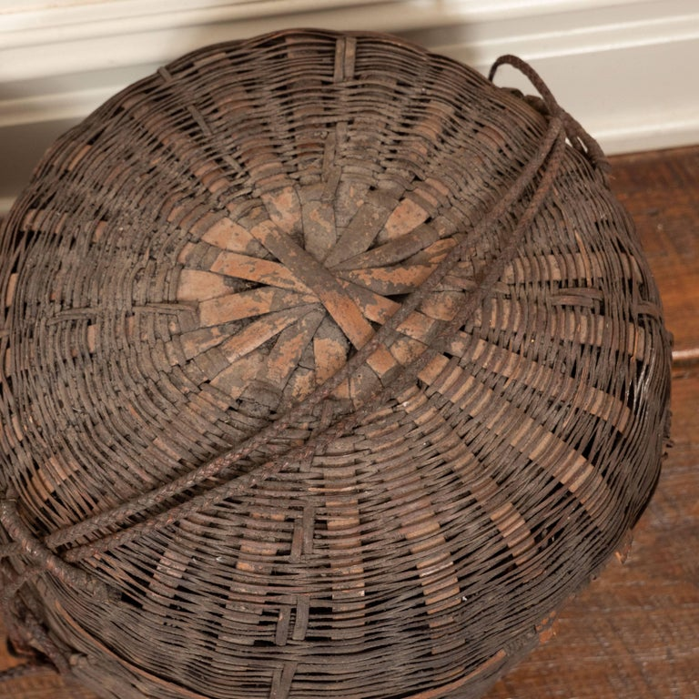 African Baskets With Lids: Set Of Six 19th Century African Woven Baskets With Lids