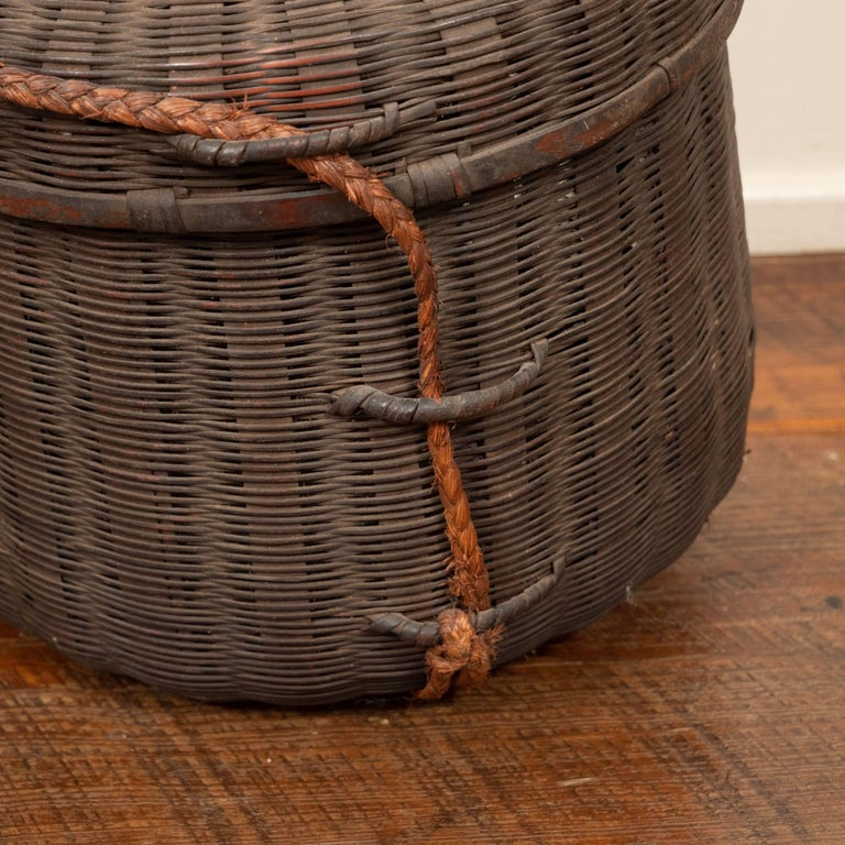 Set Of Six 19th Century African Woven Baskets With Lids Mali For 13