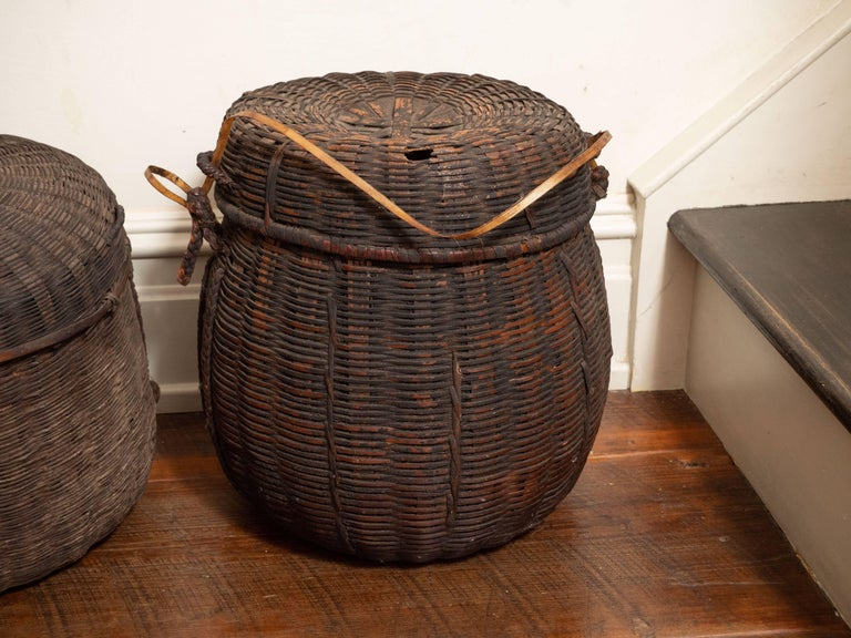 Set Of Six 19th Century African Woven Baskets With Lids Mali For