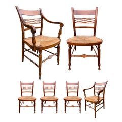 Set of Six 19th Century American Sheraton Maple Chairs with Rush Seats