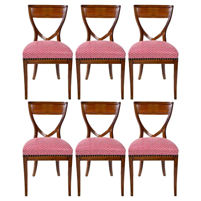 Set of Six 19th Century Biedermeier Mahogany Chairs For Sale