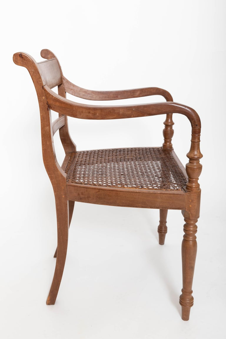 Hand-Carved Set of Six 19th Century British Colonial Satinwood Armchairs For Sale