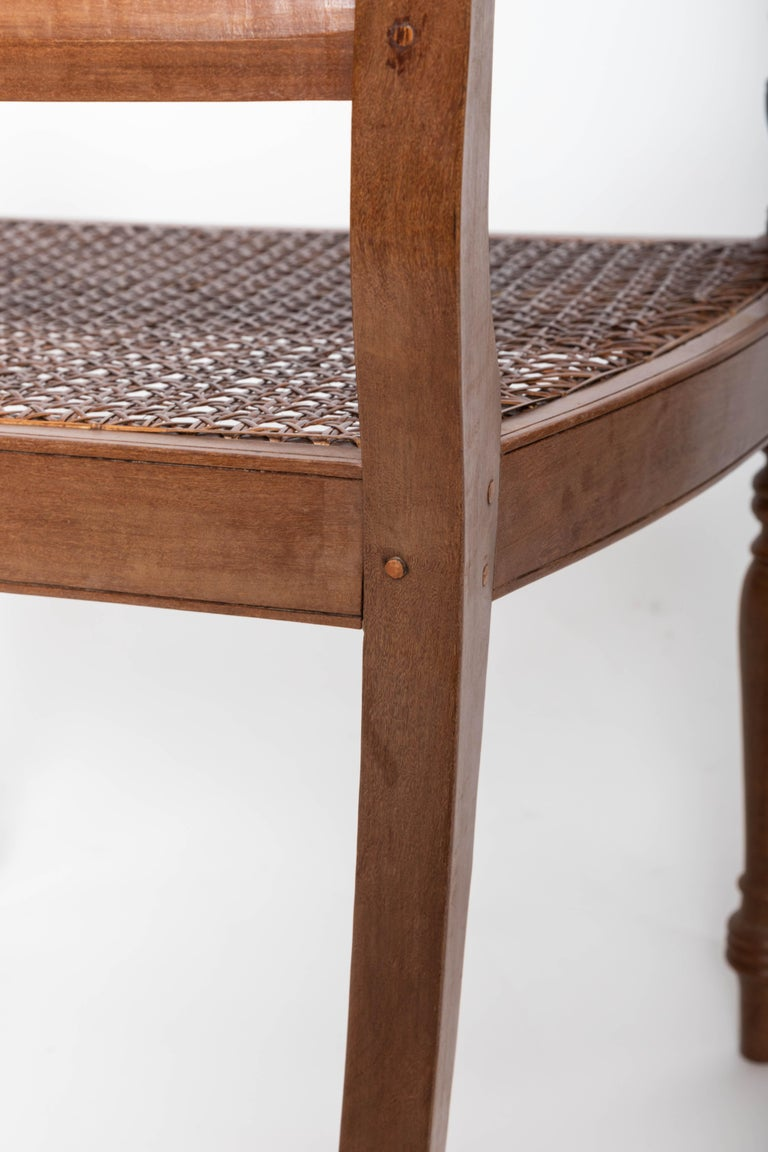 Late 19th Century Set of Six 19th Century British Colonial Satinwood Armchairs For Sale