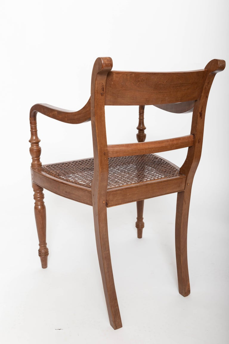 Set of Six 19th Century British Colonial Satinwood Armchairs For Sale 1