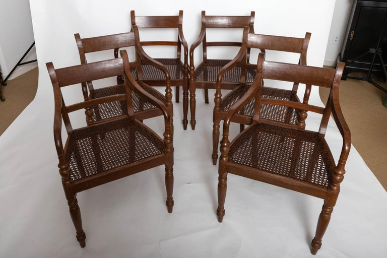 Set of Six 19th Century British Colonial Satinwood Armchairs For Sale 3