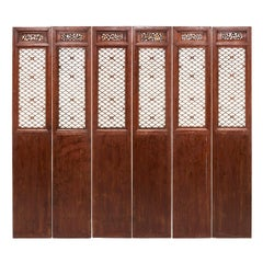 Set of Six 19th Century Chinese Courtyard Lattice Panels