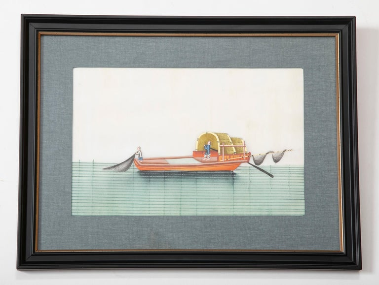 A charming and rare set of six Chinese gouaches of sailing vessels, or junks, painted on pith paper, beautifully framed and matted. During the 18th and 19th centuries many port cities of China, especially southern Guandong province, were shipping