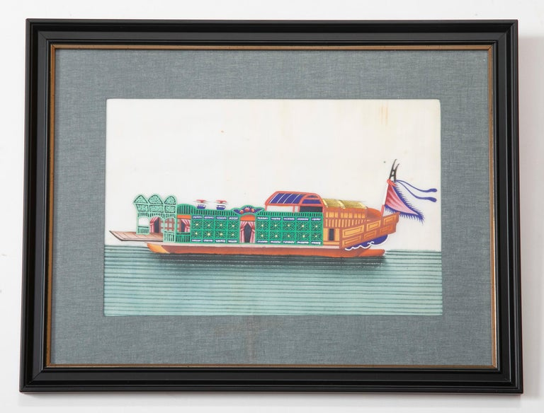 Set of Six 19th Century Chinese Export Pith Paintings of Junks In Good Condition In Stamford, CT