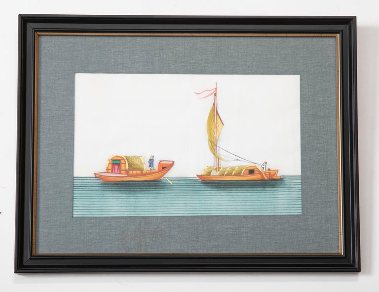 Set of Six 19th Century Chinese Export Pith Paintings of Junks 1