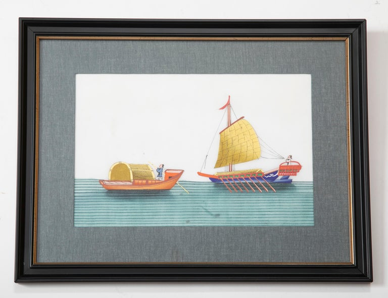 Set of Six 19th Century Chinese Export Pith Paintings of Junks 4
