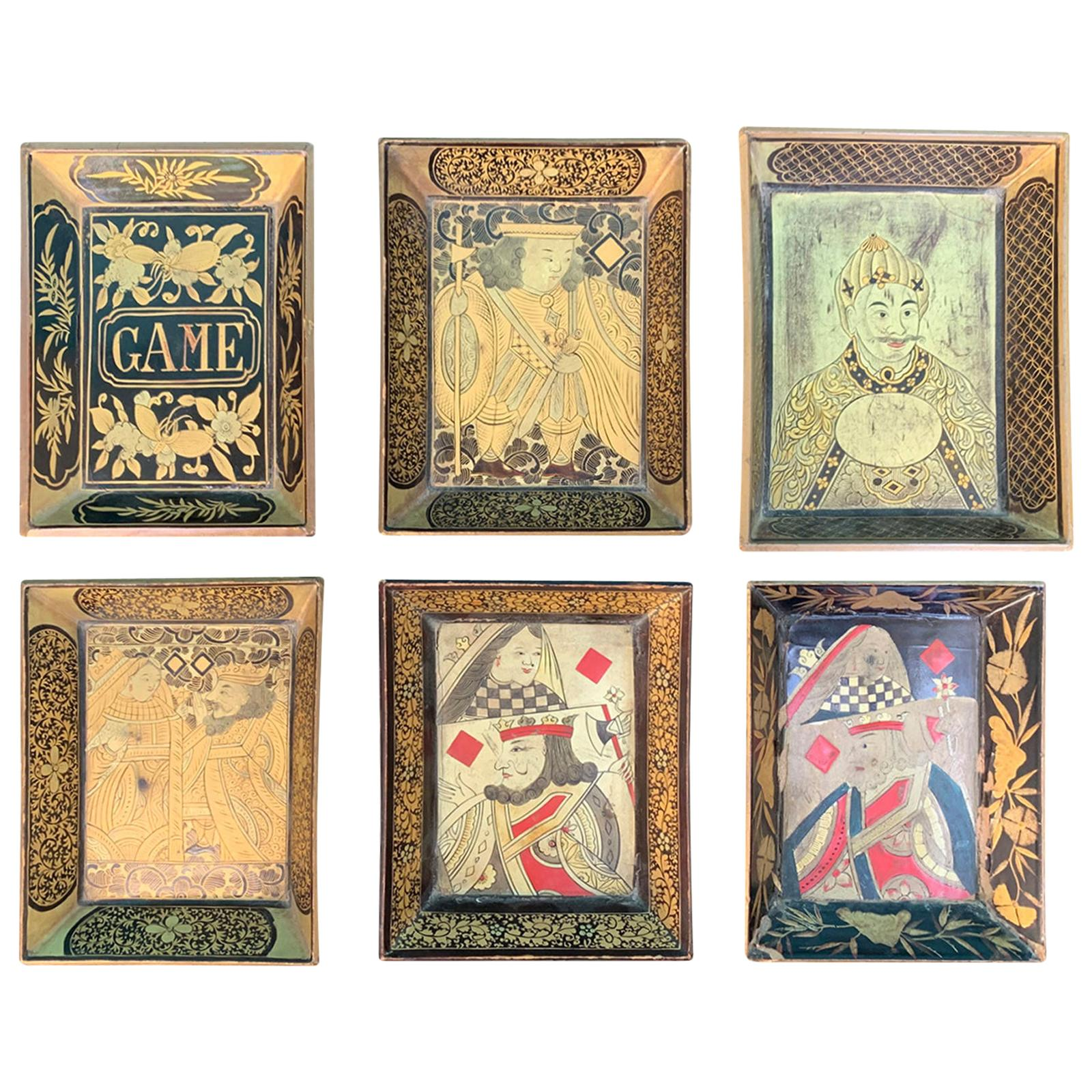Set of Six 19th Century Chinoiserie Lacquered Playing Card Trays