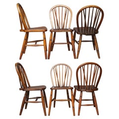 Set of six 19th Century English Windsor Elmwood Hoop Back Kitchen Table Chairs
