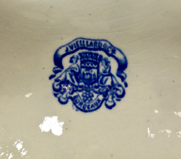 Set of Six 19th Century French Blue and White Oyster Plates from Bordeaux For Sale 8