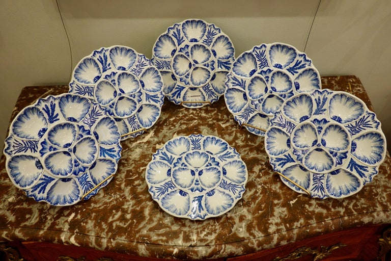 Faience Set of Six 19th Century French Blue and White Oyster Plates from Bordeaux For Sale