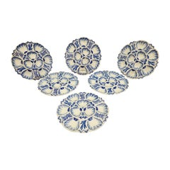 Set of Six 19th Century French Blue and White Oyster Plates from Bordeaux