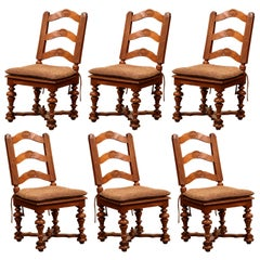 Set of Six 19th Century French Louis XIII Carved Walnut Ladder Back Chairs