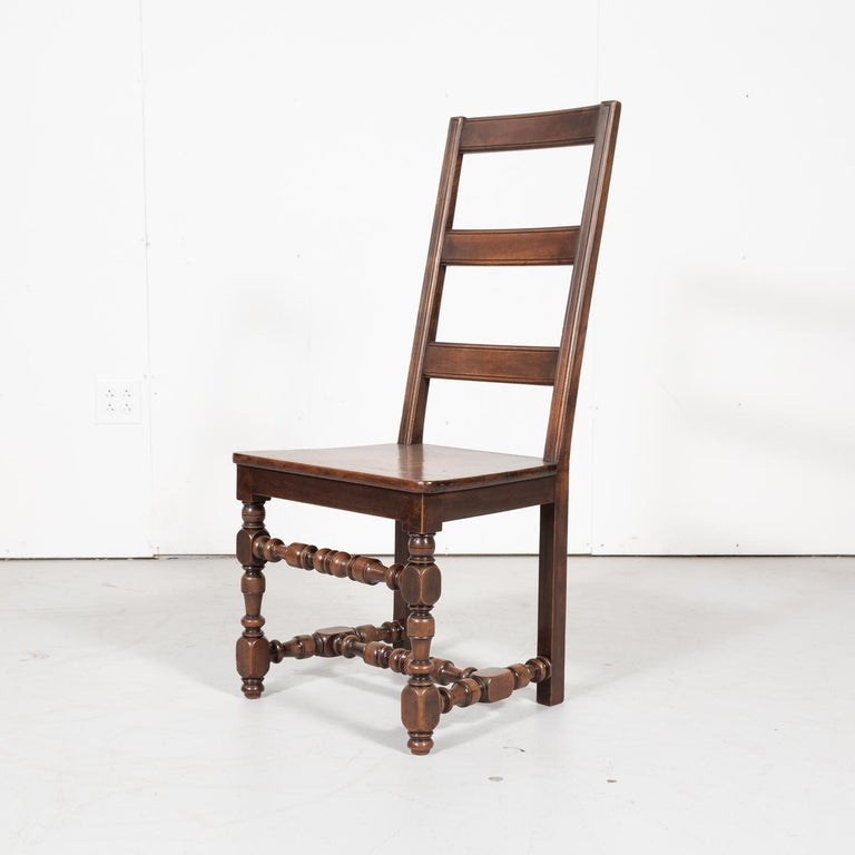 Set of Six 19th Century French Louis XIV Style Ladder Back Dining Chairs For Sale 5
