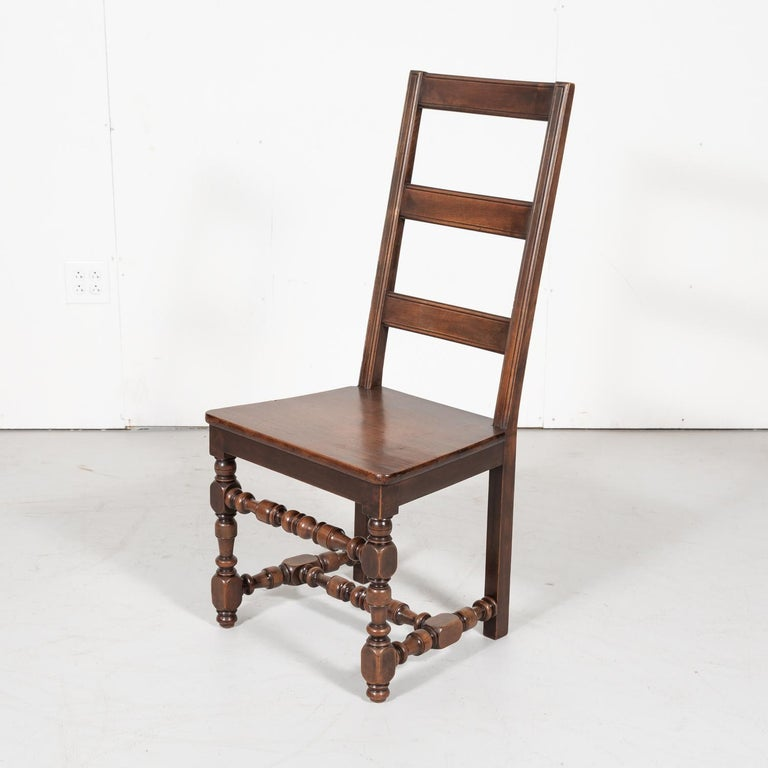 Set of Six 19th Century French Louis XIV Style Ladder Back Dining Chairs For Sale 6