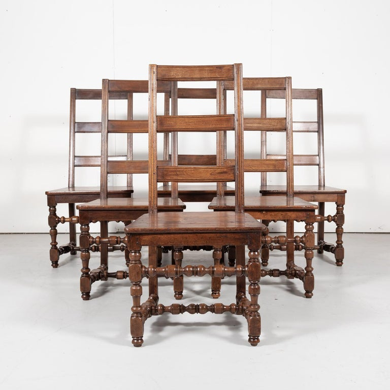 Set of Six 19th Century French Louis XIV Style Ladder Back Dining Chairs In Good Condition For Sale In Birmingham, AL